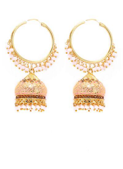 Peach Meenakari And Pearl Earrings