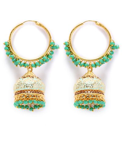 Green Meenakari And Pearl Earrings