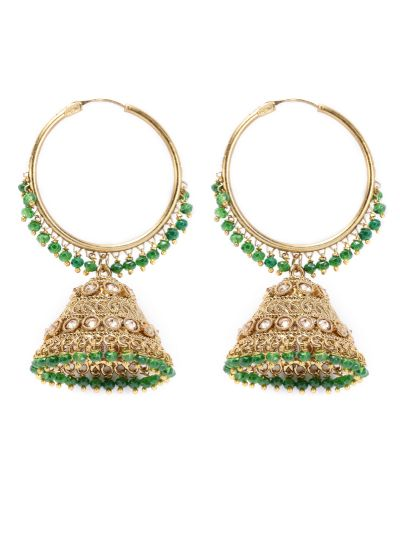 Green Drop And Gold Jaal Earrings
