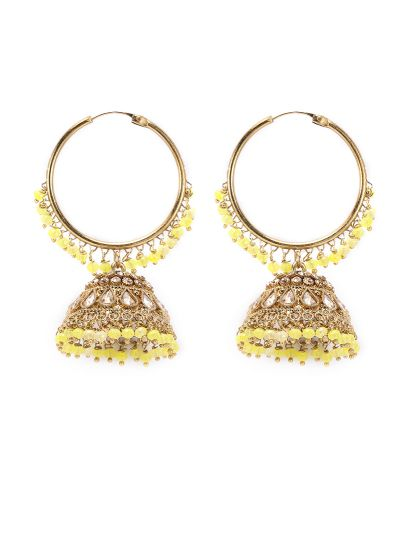 Yellow Drop And Gold Jaal Earrings