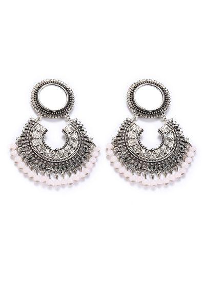 Nude Oxidised Mirror Earrings