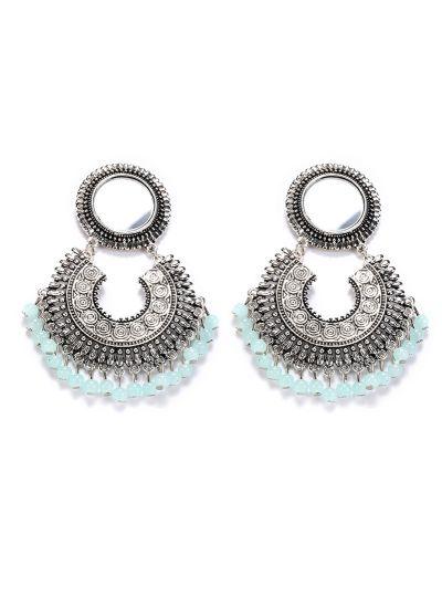 Mint Oxidised Mirror Earrings