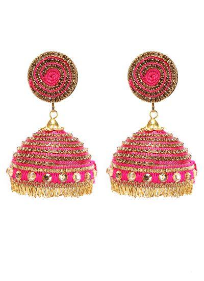 Pink Threaded Jhumkis