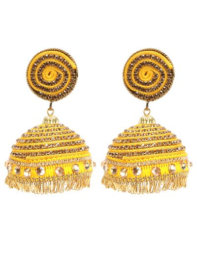 Yellow Threaded Jhumkis