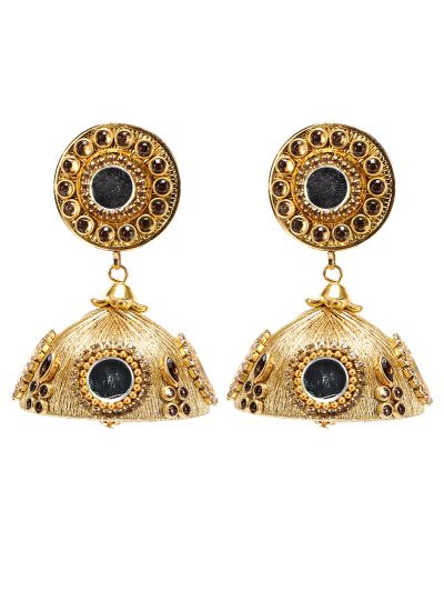 Gold  Mirror And Thread Jhumkis