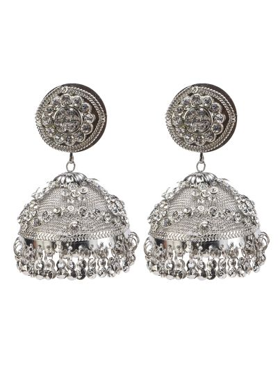 Traditional Silver Jhumkis