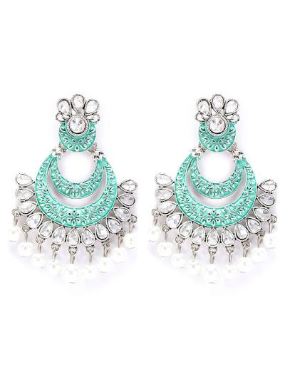 Meenakari And Pearl Highlighted Earrings
