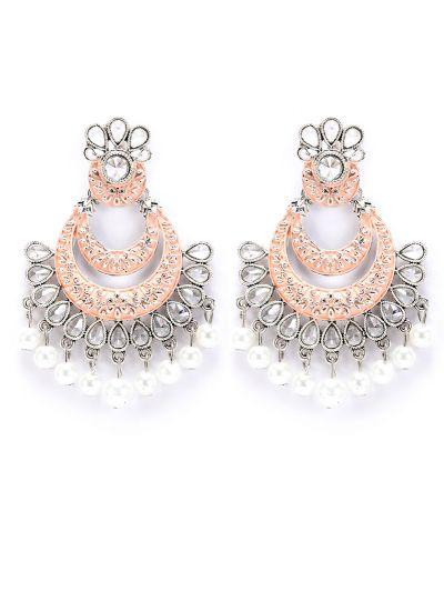 Peach Meenakari And Pearl Highlighted Earrings