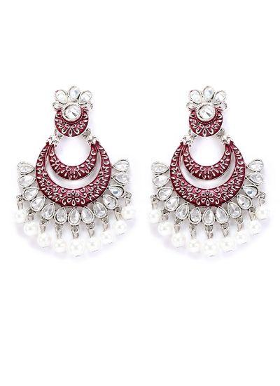 Plum Meenakari And Pearl Highlighted Earrings