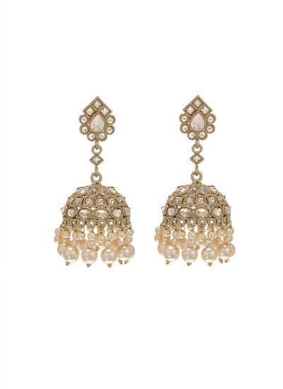 Gold Pearl Metallic Jhumkis