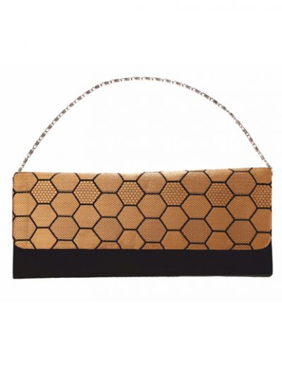 Black & Gold Brocade Envelope Clutch