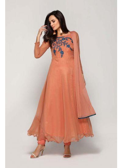 Peach Flowy Botanical Dress