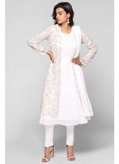 Zari Embellished Net Jacket Suit