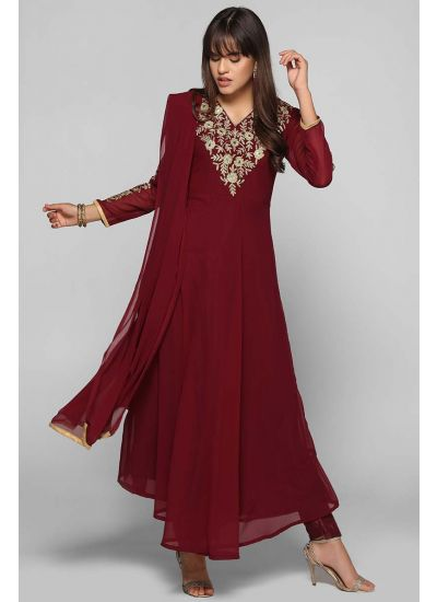 Flared Mirror Zari Embellished Suit