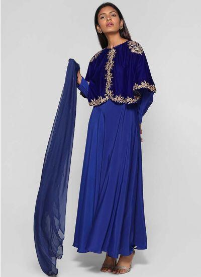 Embellished Velvet Cape Suit Set