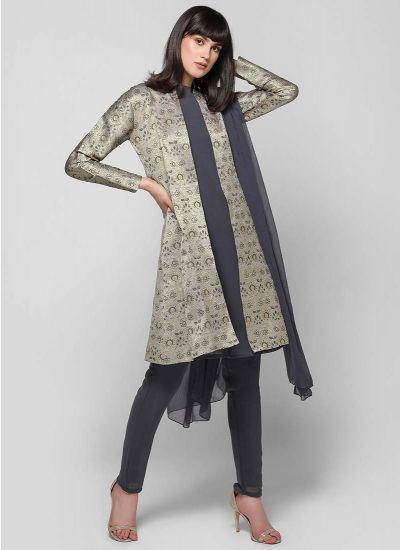 Damask Brocade Jacket Suit