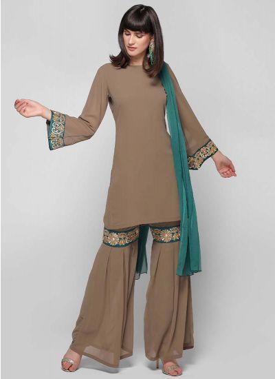Umbrella Sleeved Gharara Suit