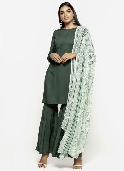 Emerald Printed Gharara Dress