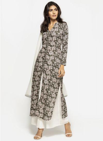 Khaki Orchid Palazzo Suit