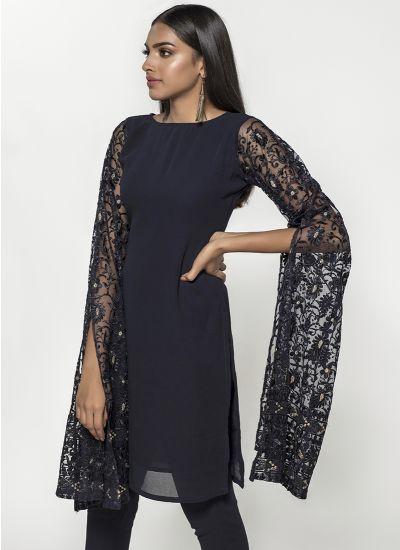 Foliage Pixie Sleeve Dress