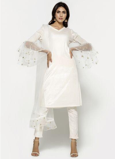 Ivory Velvet Zari Dress