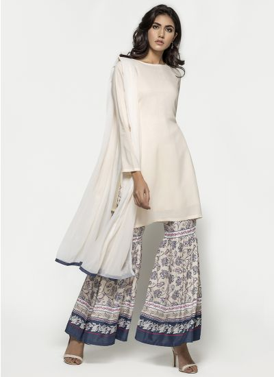 Indigo Printed Gharara Dress
