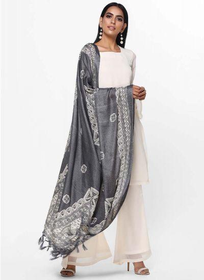 Grey Damask Woven Dupatta Dress
