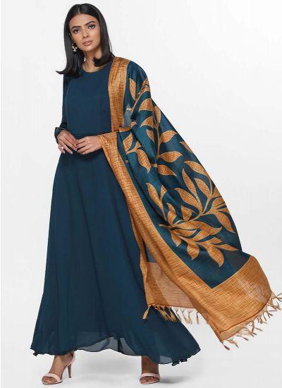 Teal Botanic Printed Dress