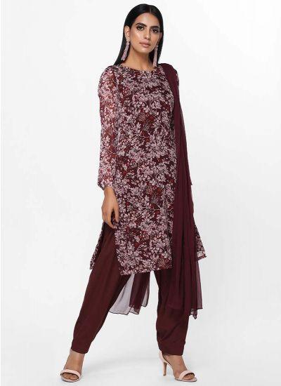 Printed Wine Shifted Dress
