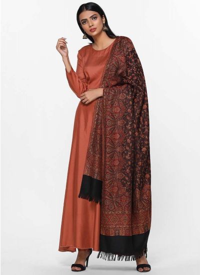 Regal Rust Shawl Dress