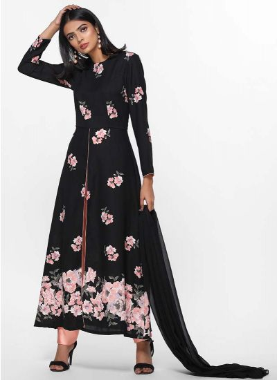 Rose Placement Print Dress