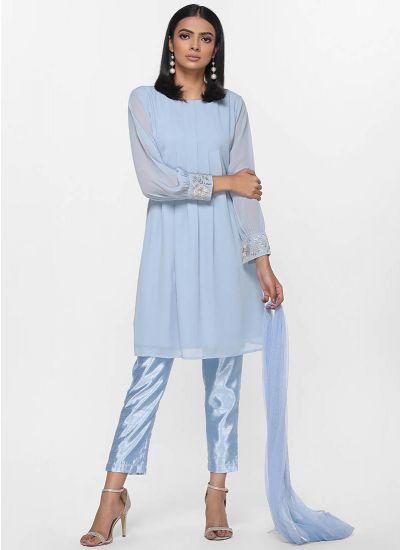 Ice Blue Pleated Dress