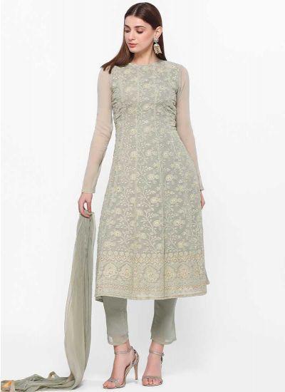 Mint Chikenkari Dress