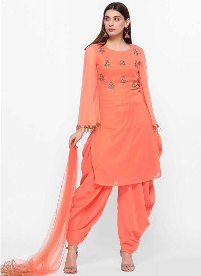 Peach Beaded Salwar Suit