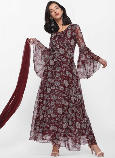 Lurex Printed Wine Dress