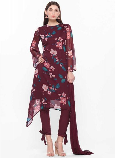 Plum Printed Asymmetric Dress