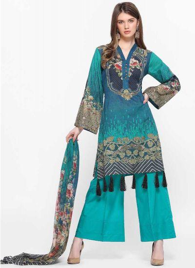 Aqua Printed Tassel Suit