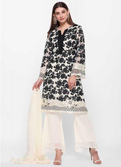 Monochrome Foliage Threaded Dress
