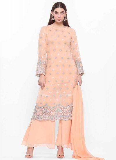Sheer Peach Layered Dress