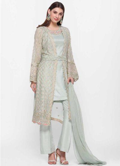 Mint Pearl and Zari Jacket Dress