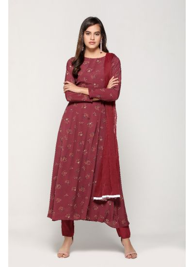 Wine Blossomy Printed Flared Dress