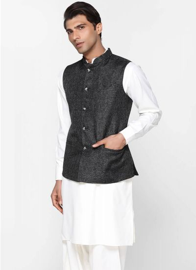 Black Jute Cotton Waistcoat