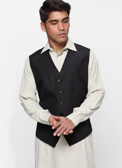Sans Lapel Black Waistcoat