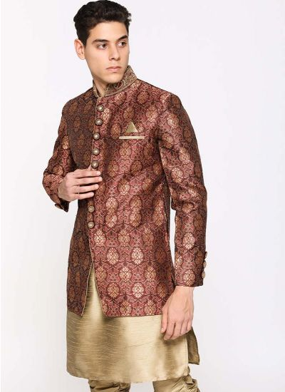 Intricate Brocade Jacket Suit Set