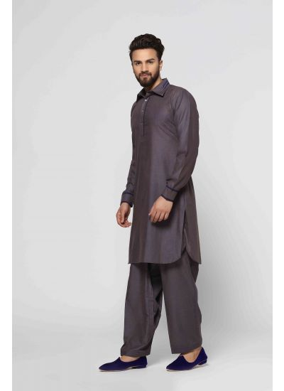 Brown & Blue Kurta Salwar Set