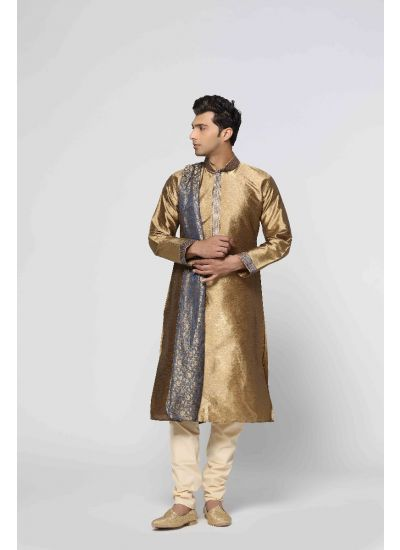 Traditional Gold Kurta Pyjama Set