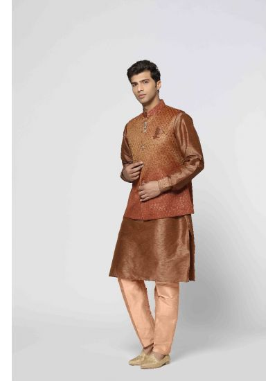 Ombre Brocade Kurta & Churidaar Set