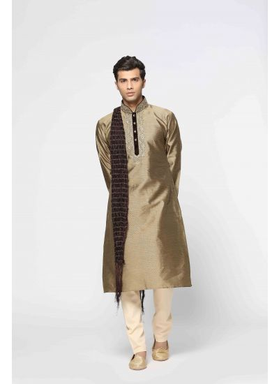 Embellished Collared Kurta Churidaar Set