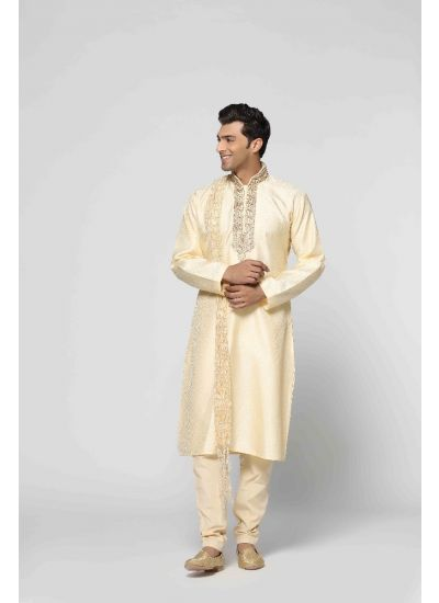 Regal Gold Jacquard Kurta Set