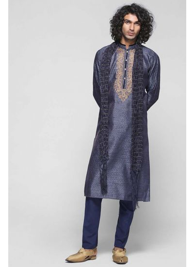Silk Embellished Placket Kurta Set